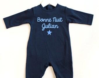 """baby pajamas-toddler pajamas- Bonne nuit French """"good night"""" playsuit, sleeper, footie, pjs-personalized pajamas-customized pajamas-pjs"""