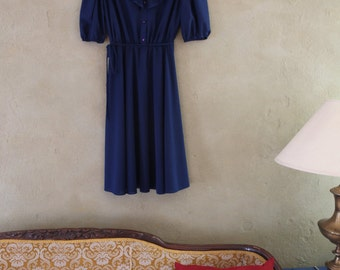 70s Vintage Polyester Royal Blue Frilly Ruffled Collar Day Dress