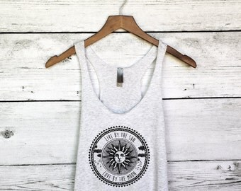 Live by the Sun, Love by the Moon Women's Tank Top - Trending Fashion for Women - Moon and Sun Tees, T-Shirts - Chic Boho Fashion