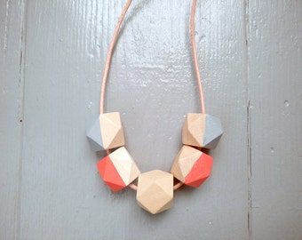 Geometric Necklace - Coral, Nude & Light Grey | Statement Necklace | Gift for her | Geometric Jewellery | Beaded necklace | Minimalist