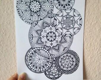 Zen Circles I, mandala art print