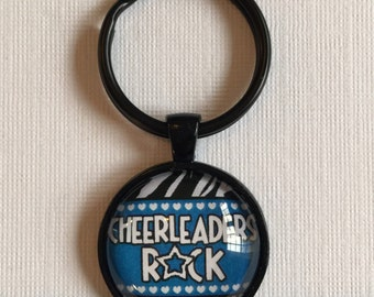 ON SALE Cheerleaders Rock : Glass Dome Necklace, Pendant or Keychain. Gift Present metal round art photo jewelry by Bohemian Marvels