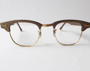 Vintage S.R.O Light Brown Eyeglass Frames, Mink Styl-Rite Cat Eye Eyeglass Frames, Made in USA 1960s Styl Rite Light Brown Sunglass Frames