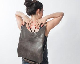 Grey Leather Backpack - Leather Hobo Bag - Shoulder Bag - Versatile Bag - Convertible Leather Backpack - Leather Tote Bag - Side\Back Bag