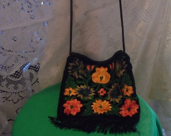 Vintage Black With Flowers And Fringe Shoulder Bag
