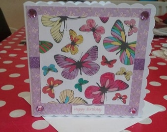 Gorgeous Handmade Glittered Butterfly Birthday Card