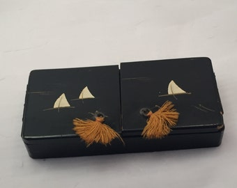 Vintage lacquered box, lacquered trinket box, sailboat box, jewelry box, antique trinket, Japanese box, black lacquer box