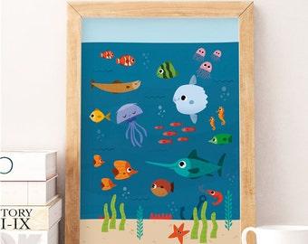 Sea nursery, Ocean nursery, Nursery art print, Under the sea, Ocean animal nursery, Sea animal print, Nursery wall print, Kids room art