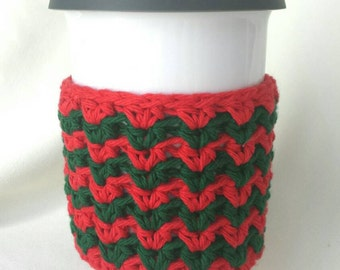 Christmas Red and Green Chevron, tea/coffee cup cozy!