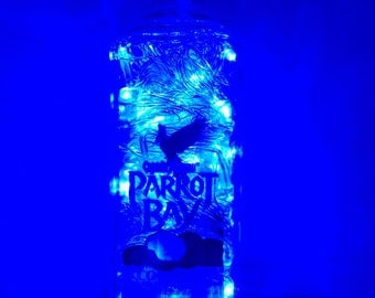 Lighted Captain Morgan Parrot Bay Coconut Rum Bottle with Blue LED Lights