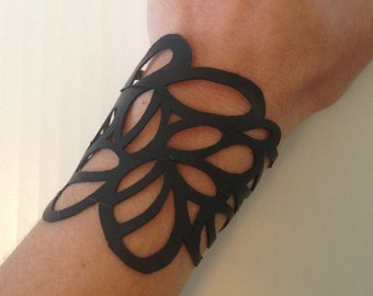 Wide cuff lace bracelet, upcycled jewelry