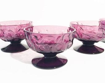 Amethyst Sherbet 5 Bowls, Purple Dessert Bowls. Amethyst Footed Glasses, Vintage, Set of 5