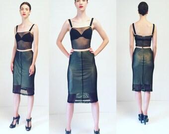 Vtg D&G Mesh Black 2 Piece Sheer Set Dress
