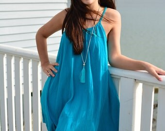Aqua shoestring cotton dress