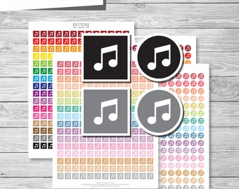 Music Stickers, Printable Musical Note Stickers, Music Planner Stickers, Musical Note Planner Stickers, Printable Music Stickers - PS179