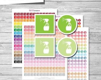 Spray Bottle Planner Stickers, Printable Spray Bottle Stickers, Cleaning Stickers, Chore Stickers, Printable Cleaning Planner Stickers -PS52