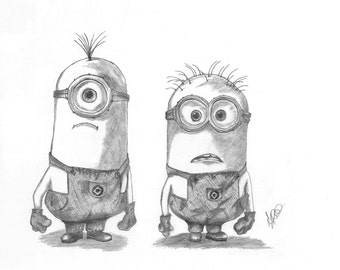 Minions Drawing Printable  - Nursery Art & Decor - Various Sizes Available - Coloured or Grayscale - Made to Order
