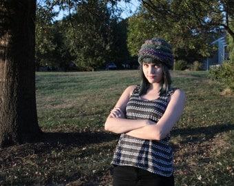 Purple Green Stripe Knitted Hat