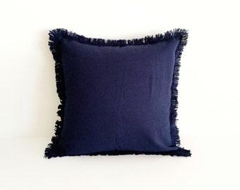 JACO Woven Fringe Cushion in Navy, 45x45cm