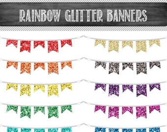 Digital Bunting Clipart Commercial Use Clip Art Graphics Rainbow Glitter Flags