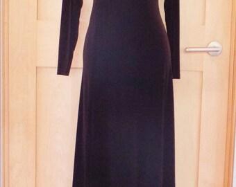 """Vintage """"Moda Int'l"""" Dress Brown Ankle-Length Velvet or Velveteen Scrunch Neck Long Sleeves Body Con Size Small"""
