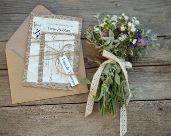 Rustic Wedding Invitation, Custom Wedding Invitation Suite, Rustic Lace Wedding Invitation, Vintage Wedding Invitation, Set of 20
