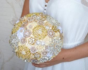 SALE! Brooch Bouquet gold Bouquet Unique Wedding Bridal Bouquet Crystal bouquet Luxury wedding bouquet