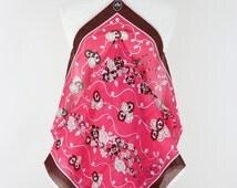 EMILIO PUCCI 1970s Vintage Light Wool Scarf Floral Print Bold Coral Brown Beige