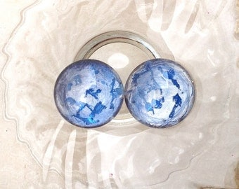 20 mm round 2cabochons batch / blue silver / cabochon glass magnifying glass / hand painted / pendant cabochon / earrings