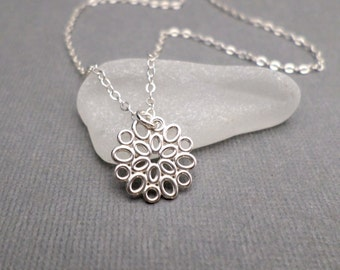ON SALE + Free Shipping. Small Silver Necklace. Silver Flower Necklace. Sterling Silver. Modern Filigree. Everyday Dainty Jewelry ~ 1/2""