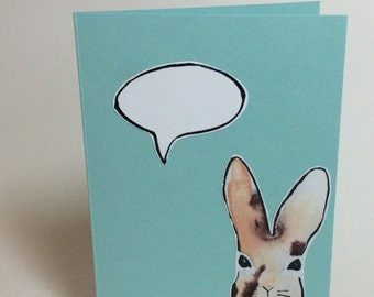 Speech bubble greeting card- Rabbit- Blank- Size A6- Watercolor and ink