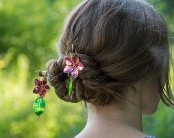 Cherry Blossom Scale Flower Hair Sticks
