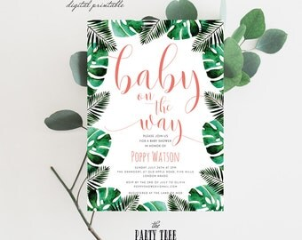 Tropical Baby Shower Invitation , Baby on the Way , Printable Baby Shower Invite , 5x7 , A6 , Boy Baby Shower , Girl Baby Shower