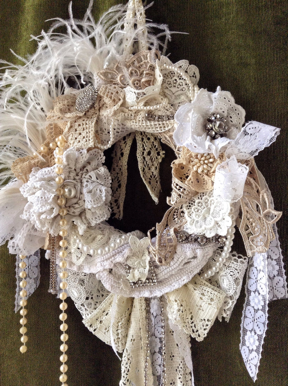Shabby Chic Wreath Shabby Wedding By Vintageshopcreations