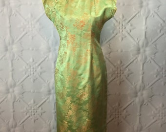 Vintage 1960's Iridescent Green Silk Cheongsam Evening Dress / Long Qipao with Spring Scene of Pagoda and Plum Blossoms
