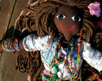 handcrafted art designed hippie doll
