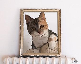 Cat Illustration Custom, Cat Art Custom, Cat Portrait, Crazy Cat Lady, Personalized Gift for Cat Lover, Cat Lover Gift