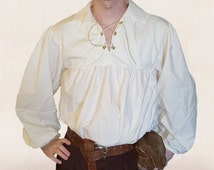 Renaissance Cotton Muslin Full Sleeved Shirt, Leather or Cotton Ties - Steampunk Pirate Fantasy Medieval Renaissance Costume Cosplay