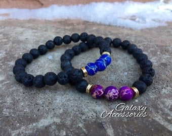 2 Pc Set! Forever Yours Relationship/friendship Bracelet Set -couples Bracelet - His/hers Purple & Blue Set - Lava Stone/accent Beads