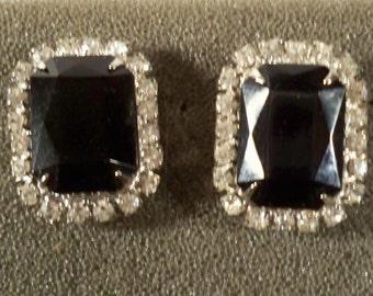 Vintage Black and Clear Rhinestone Pierced Earrings RS1078