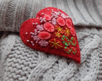 Red heart. Felt brooch. Hand embroidery. Felt pin. Red jewelry. Red pin. Felt Art. Unique gifts.Christmas gifts.Heart gift.Halloween jewelry