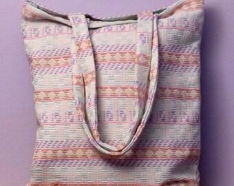Tote pastel bag Handmade - fabric pattern tote bag
