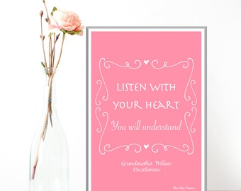 Disney print, Disney quote, Children poster, Pocahontas, Girl room wall decor, Disney princess, Kids decor, Nursery print, Girl gift idea