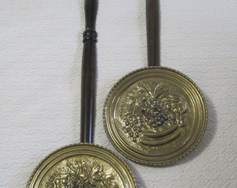 Brass Relief Bed Warmers, Fruit Motif, Wall Hangings, Set of 2, Made in England, Vintage