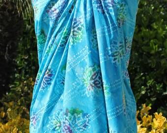 Aqua Batik Floral Lightweight Cotton Sarong and Scarf