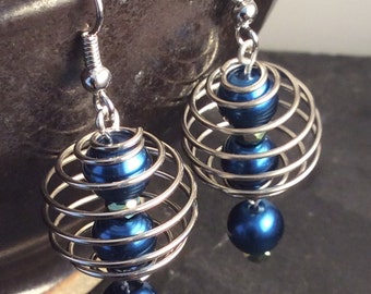 caged pearl earrings- free shipping