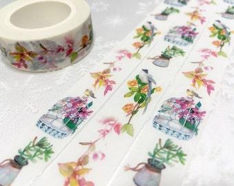 Colorful birds washi tape 10M rich color bird Garden little bird flower garden deco tape sticker bird decor cute planner tape scrapbook gift