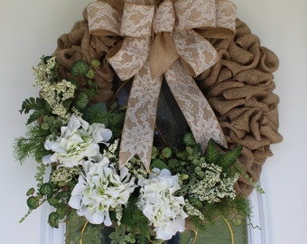 Wreath, Hydrangea Wreath, Burlap Wreath, Spring Wreath, Summer Wreath, Front Door Wreath
