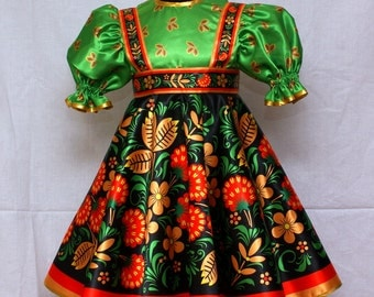 Raspberry Khokhloma/Russian Sarafan/Russische kleidung/Vêtements russe
