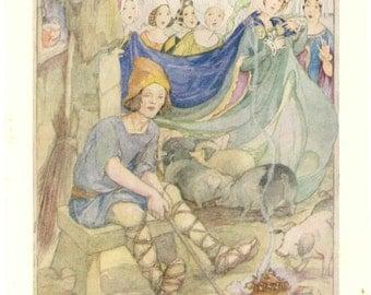 Anne Anderson, vintage art nouveau style children's book illustration colour print 1930s, Hans Christian Andersen, The Swineherd, unmounted